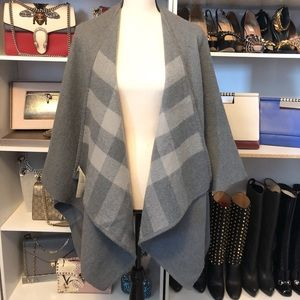 Gray Burberry Explode Check Wool Cape Poncho OS